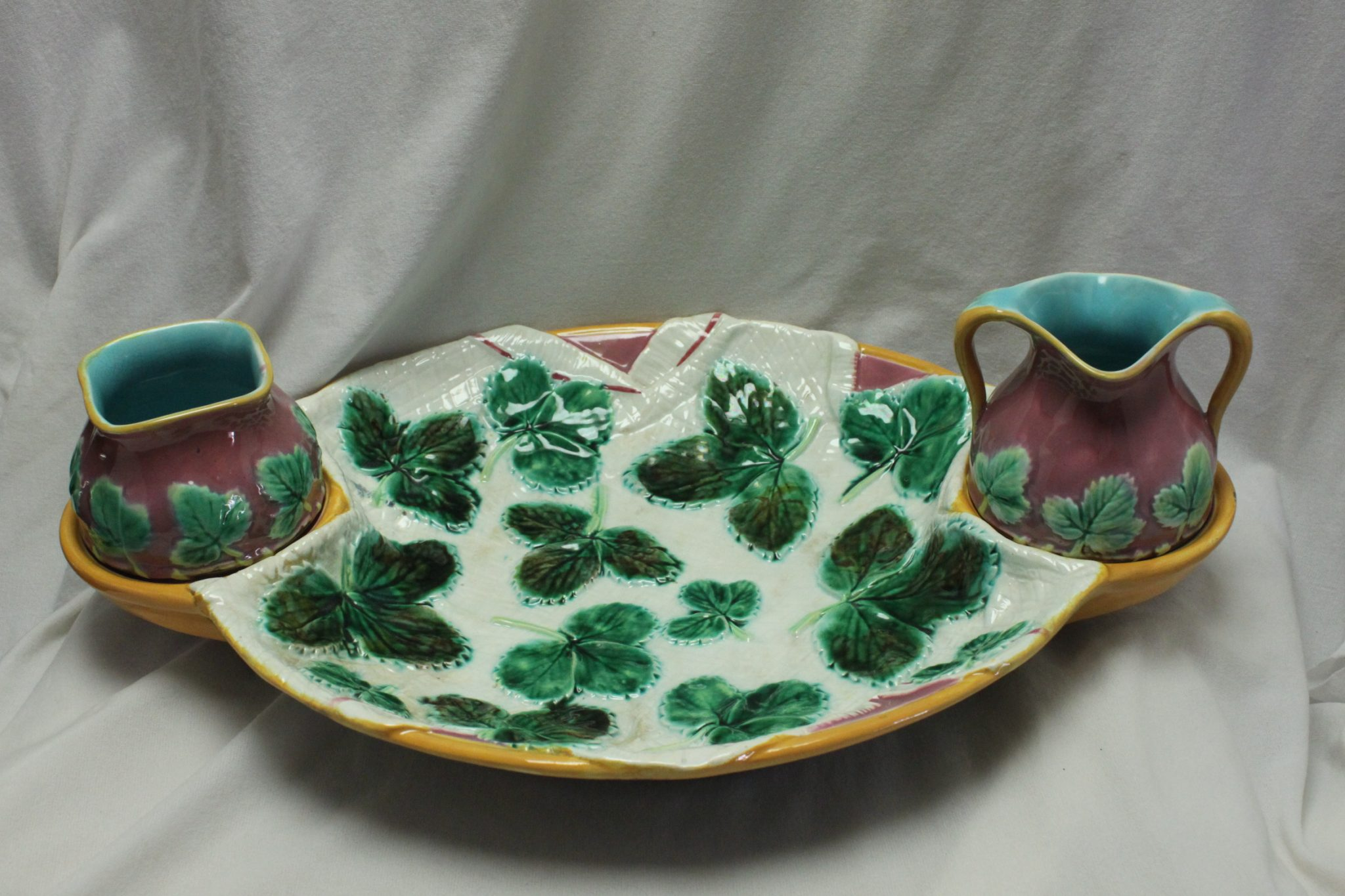 George Jones three piece majolica strawberry set