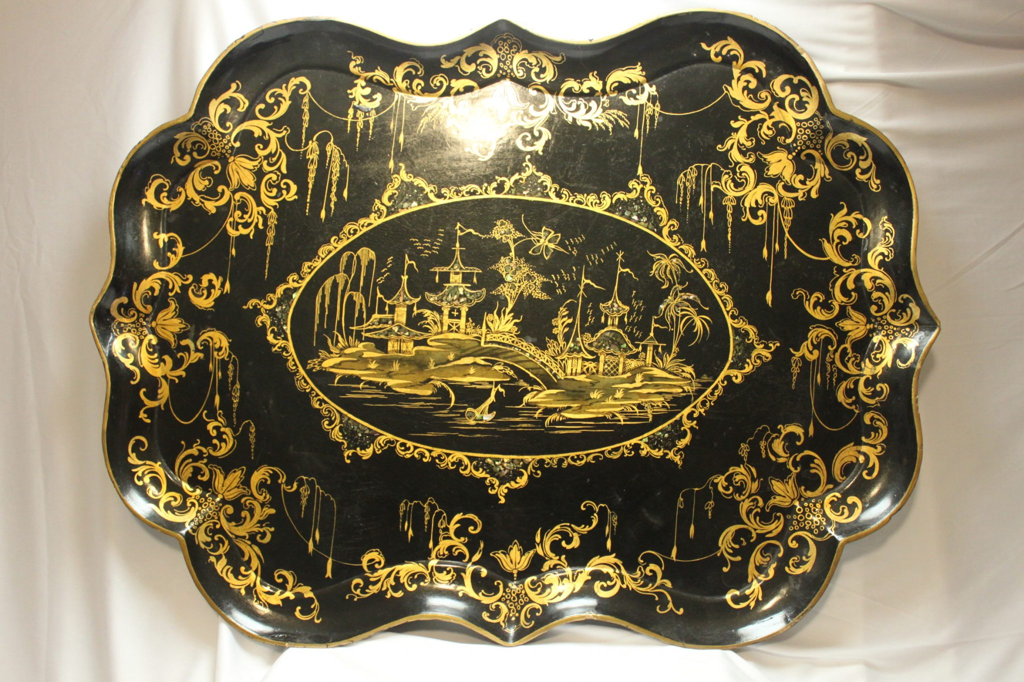 Gilt decorated Queen gothic papier mache tray