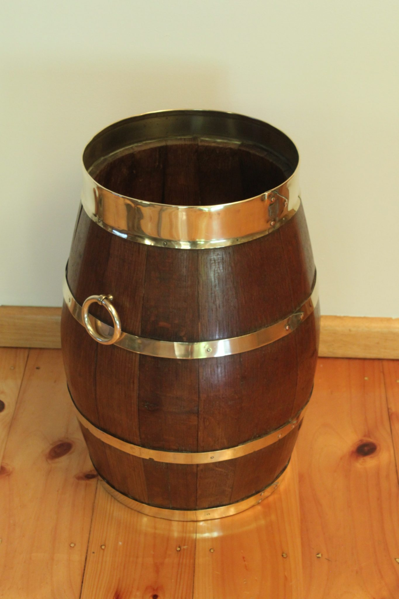 Brass bound barrel stick or umbrella stand