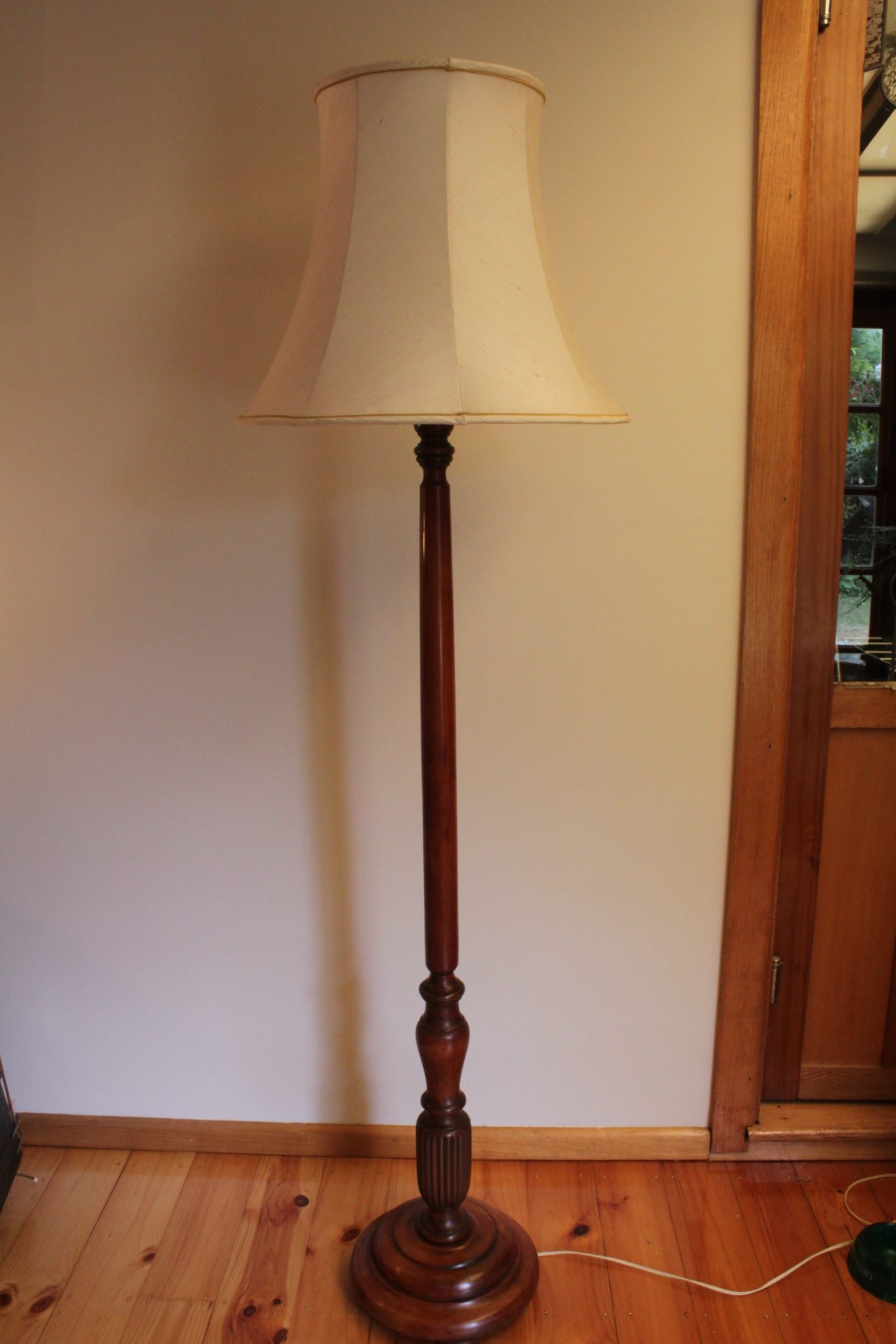 1920's blackwood standard lamp with later shade