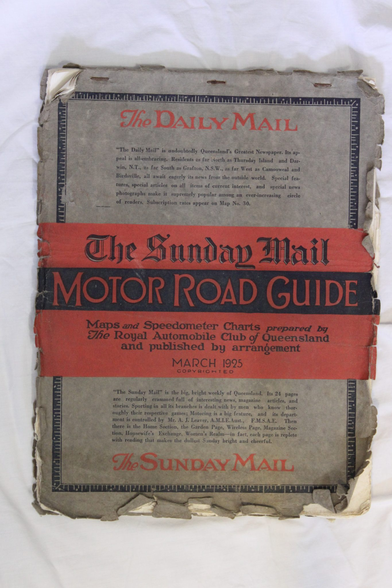 Road map of Queensland issued March 1925