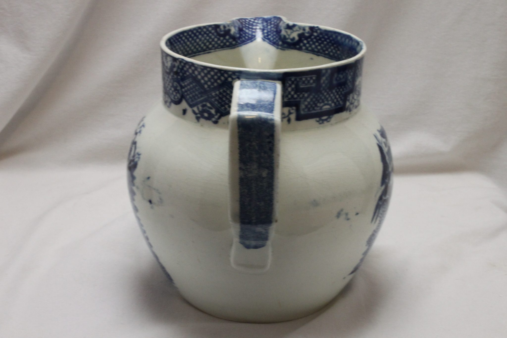 Swansea blue and white jug Chinoiserie Fern pattern