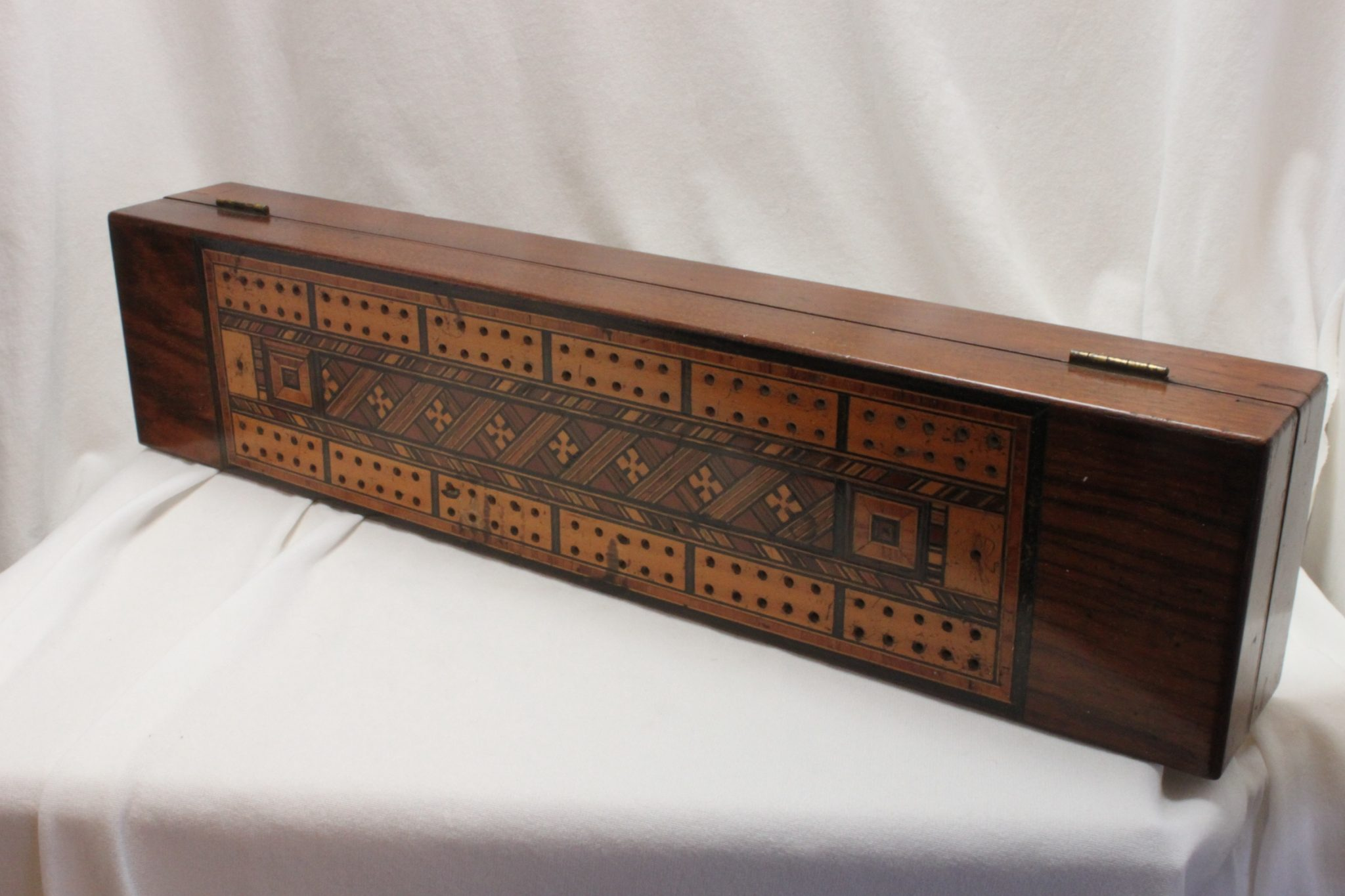 Large Tunbridge ware cribbage box