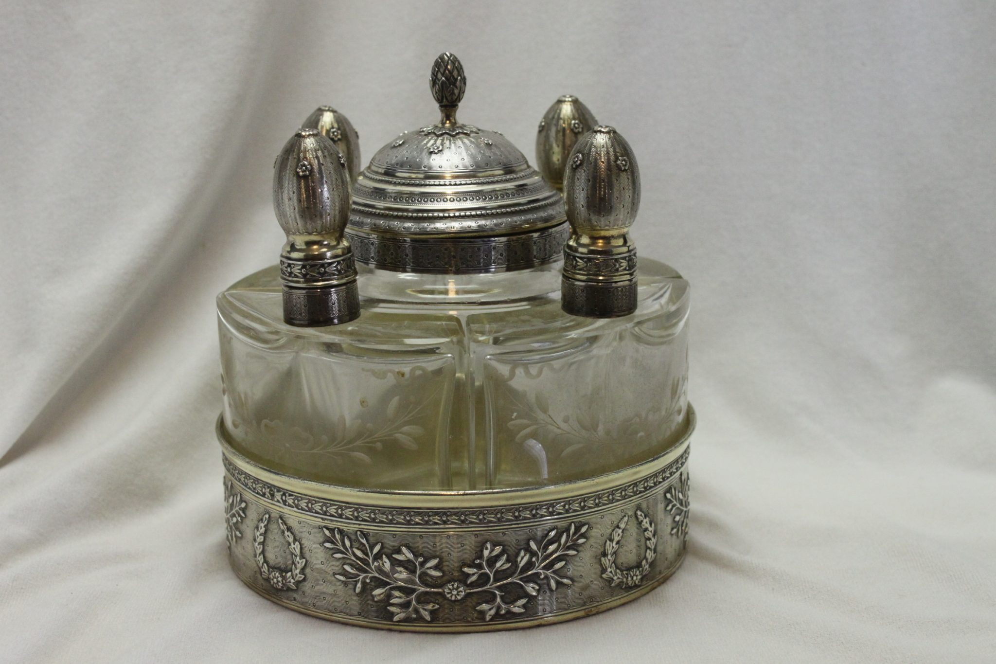 French silver gilt scent bottle stand