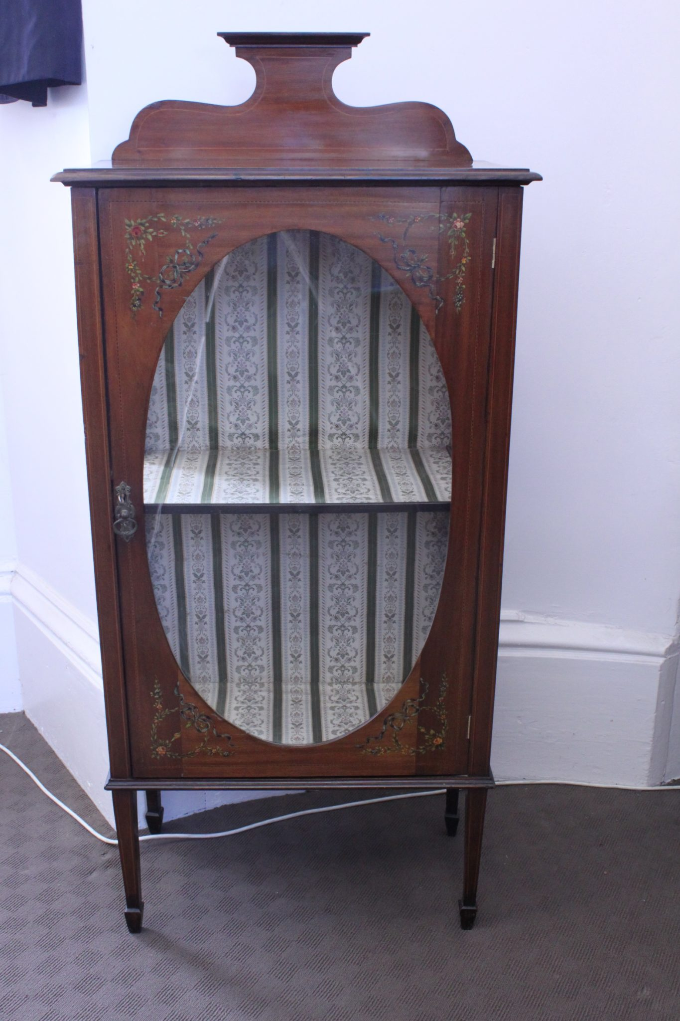 Inlaid and painted Edwardian mahogany display cabinet
