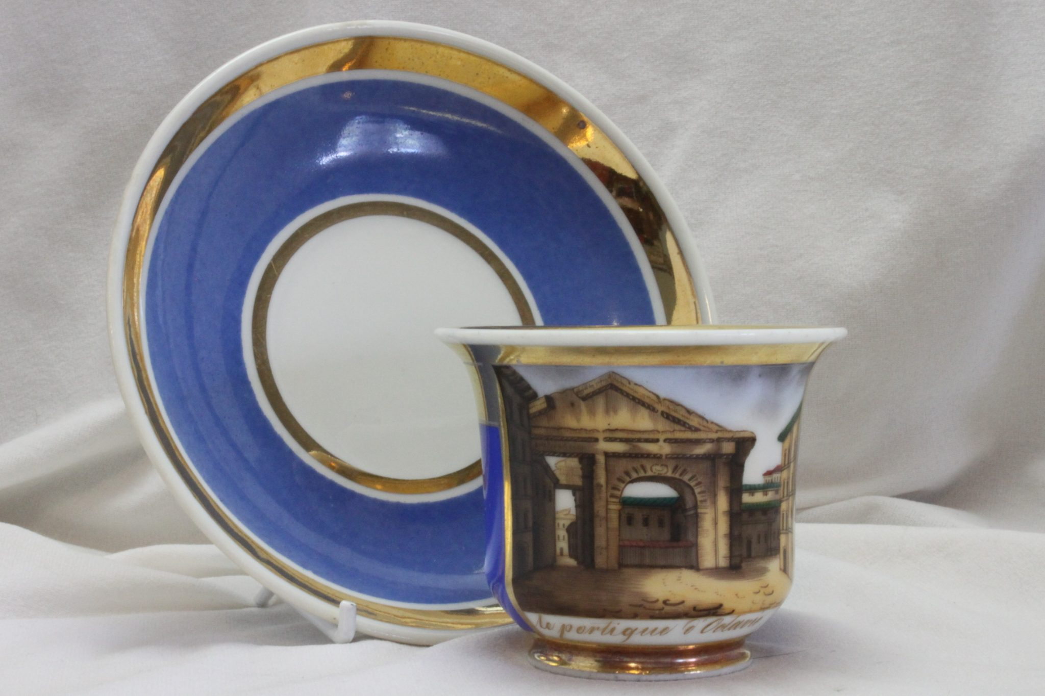 Biedermeier hand painted cup & saucer le portique d'Octavie