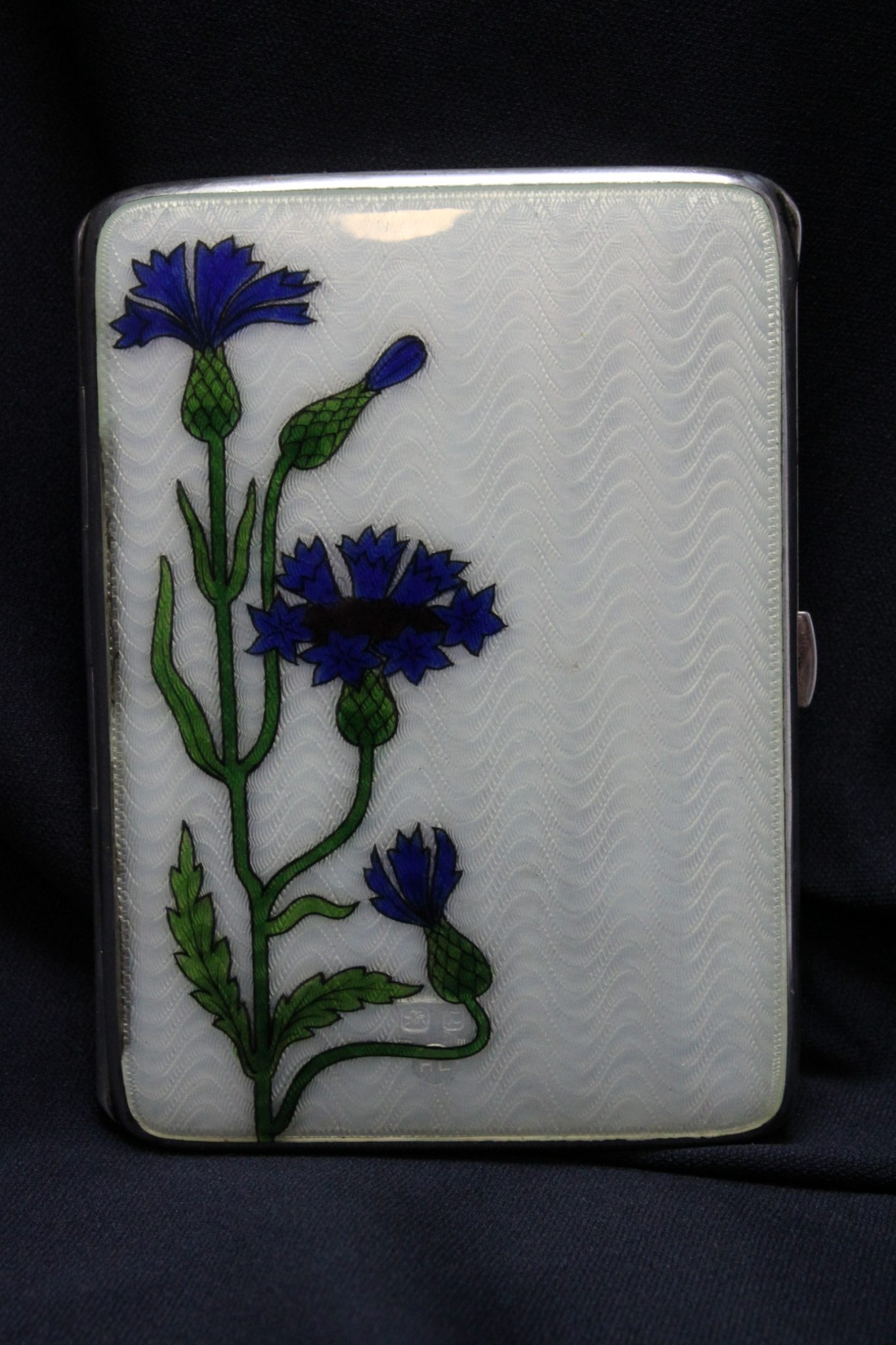 Guilloche enamel sterling silver card case