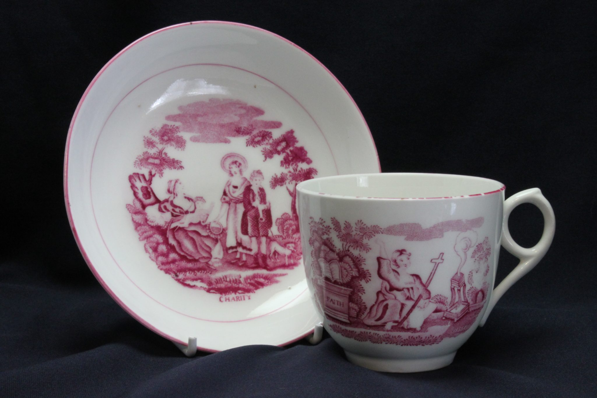Enoch Wood and Sons cup and saucer-Faith, Hope & Charity