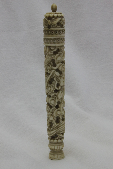 Carved ivory needle case