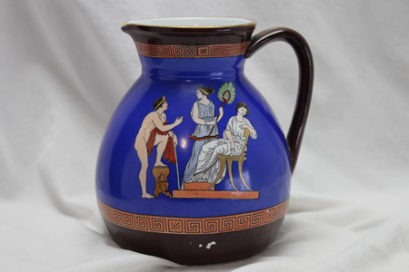 Hand coloured jug att. The Hill Pottery Co.