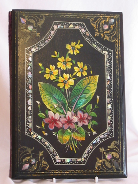 Ladies journal with inlaid and painted papier-mache covers