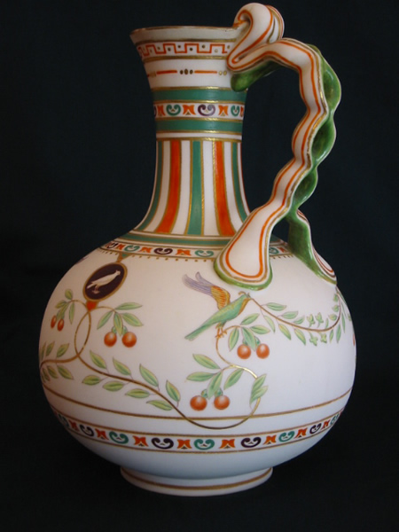 Minton painted parian ewer