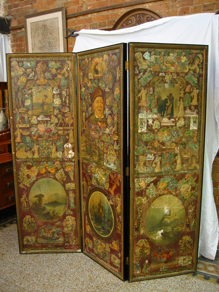 Three panel decoupage screen