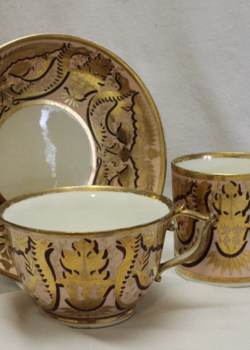 Derby hand painted and gilded trio
