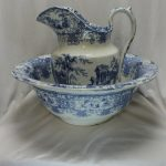 Blue and white jug and basin
