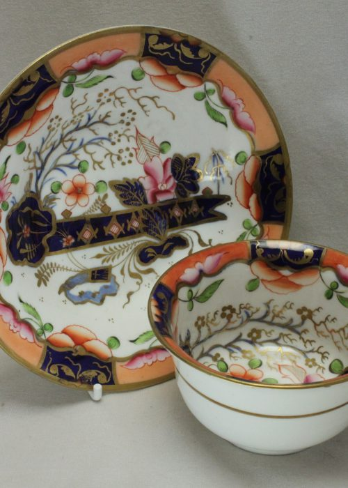 Hand coloured porcelain cup and saucer poss. by Rathbone