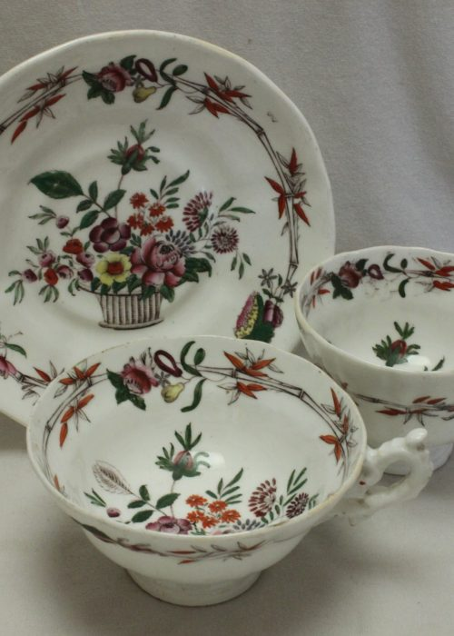 C J Mason porcelain hand coloured  trio