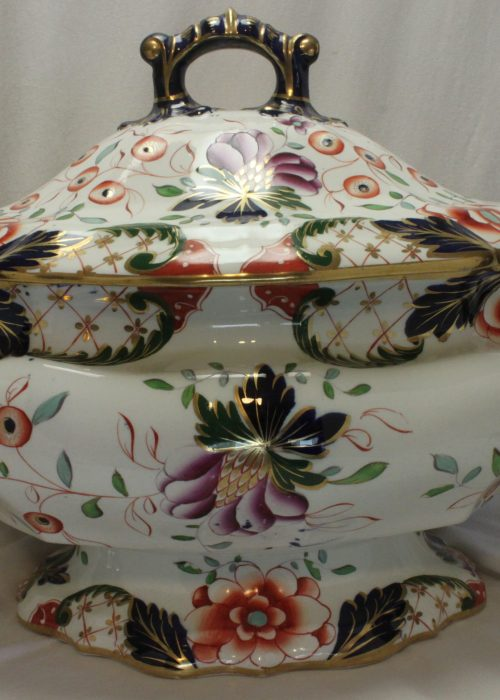 Large hand coloured Davenport tureen