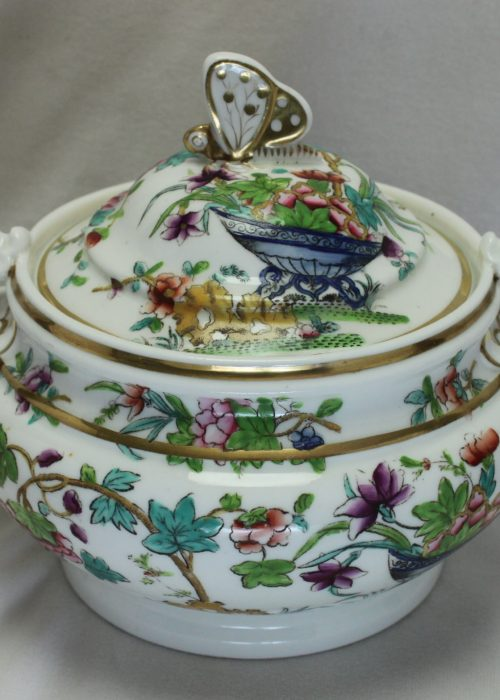 Ridgway hand coloured porcelain lidded sugar bowl.