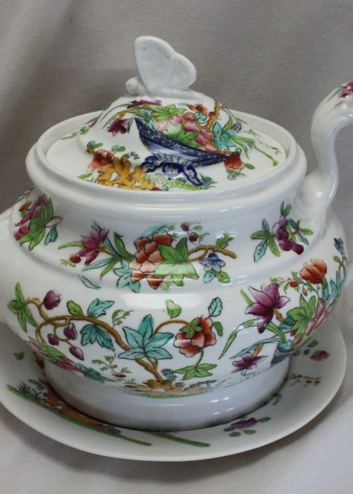 Ridgway hand coloured porcelain teapot and stand