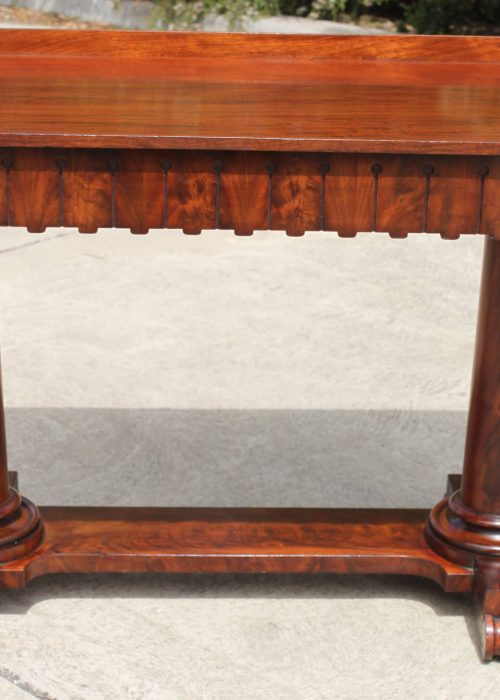 Flame mahogany pedestal side table