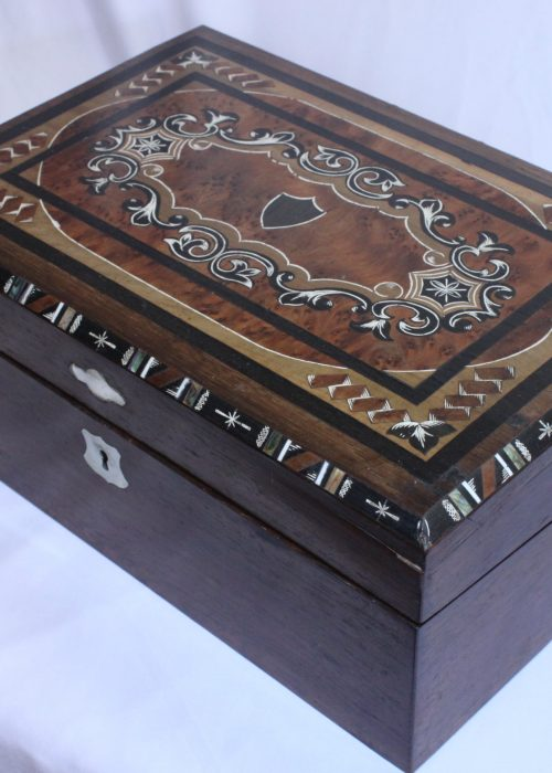 Inlaid rosewood veneer writing box