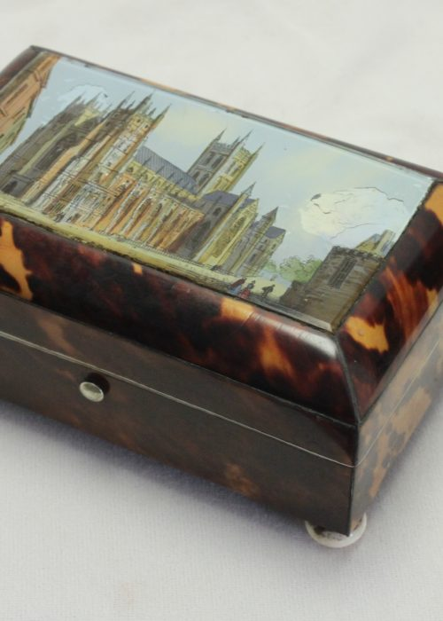 Tortoiseshell box with reverse painted scene of Canterbury Cathedral