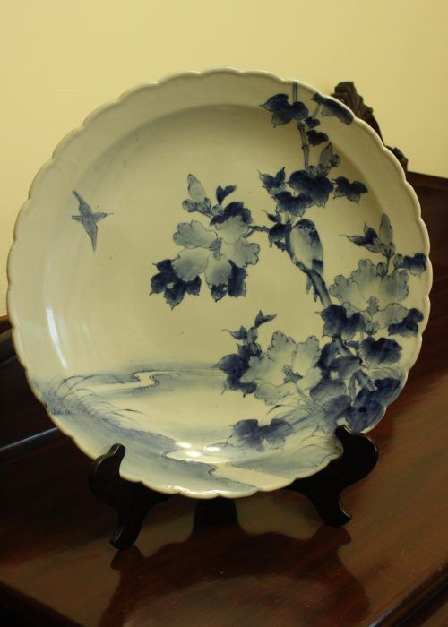 Japanese hand painted blue and white charger