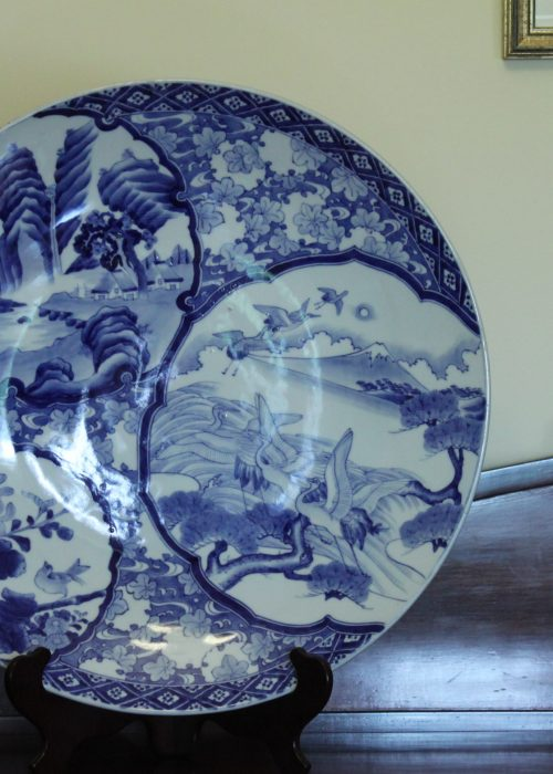 Large Japanese blue and white charger