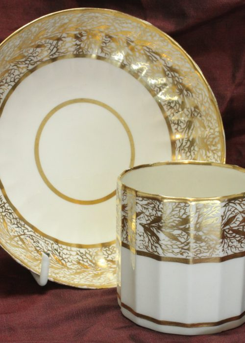 Derby gilded coffee can and saucer