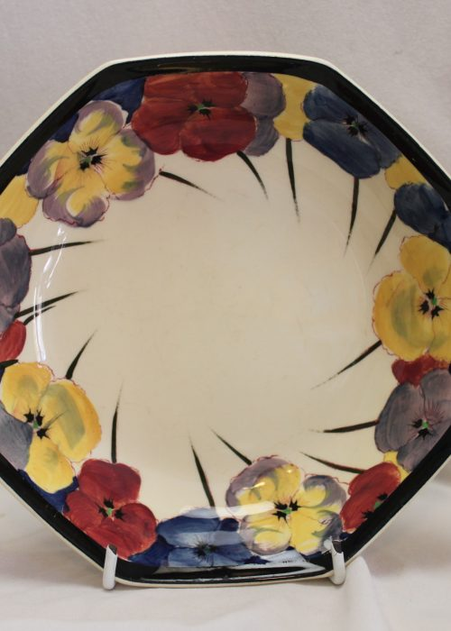 Royal Doulton octagonal pansy pattern bowl