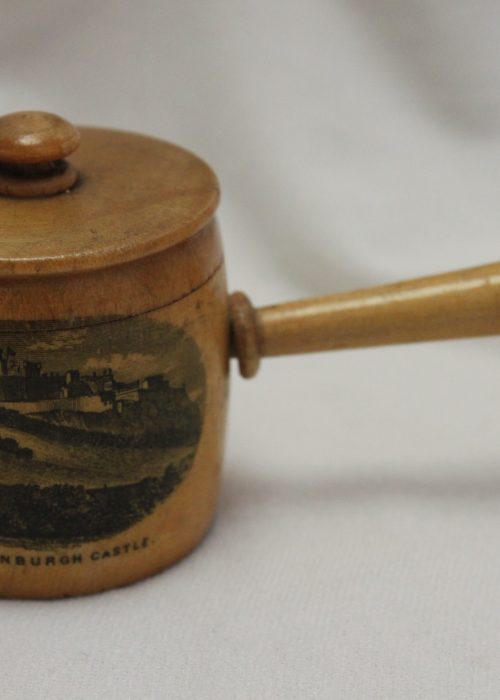Mauchlineware thimble holder in the shape of a saucepan