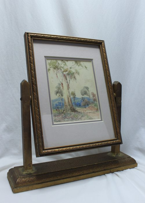 Watercolour by Charles S Bennett in swivel frame