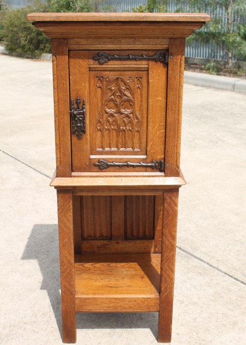 French oak gothic revival stand with cupboard
