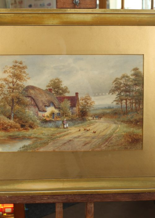 Framed watercolour by Harold Lawes