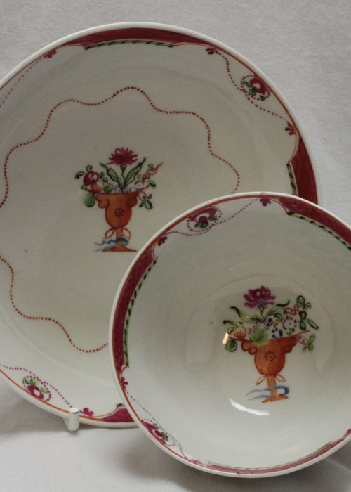 A and E Keeling hand painted tea bowl and saucer pattern 144