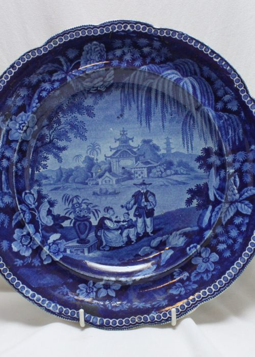 Enoch Wood blue and white chinoiserie plate
