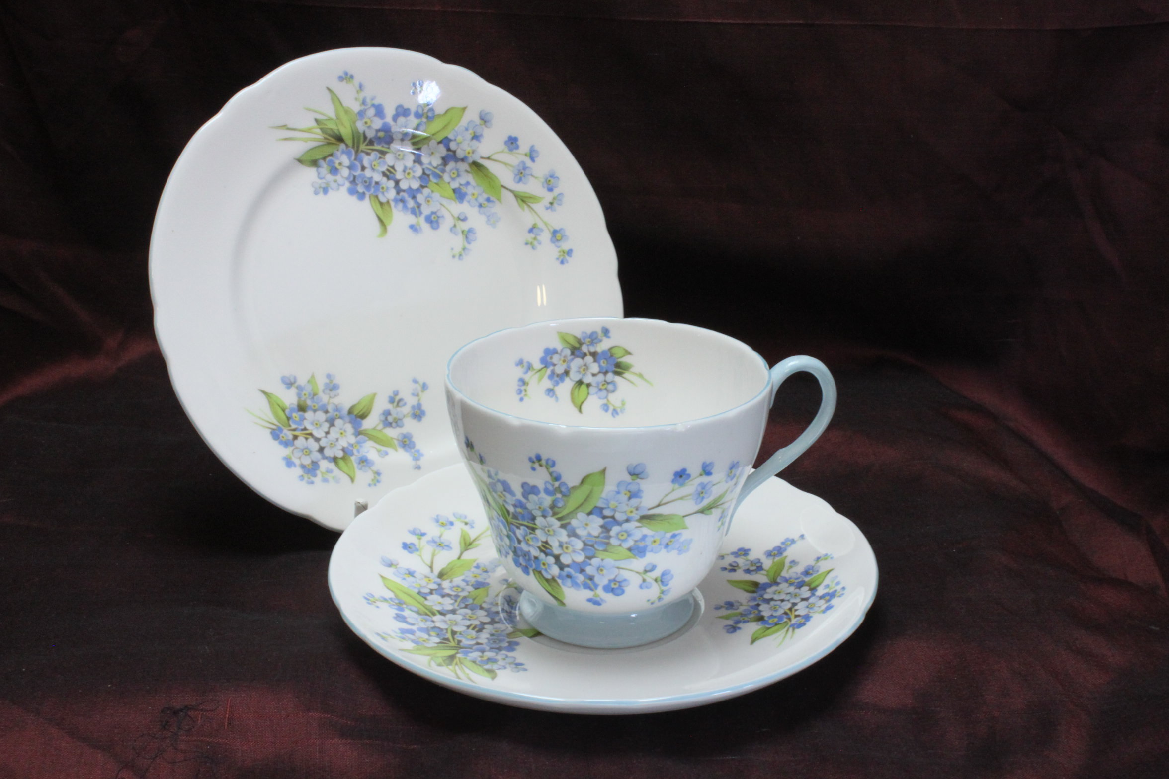 Shelley cup saucer and plate Forget-me-nots pattern 2394
