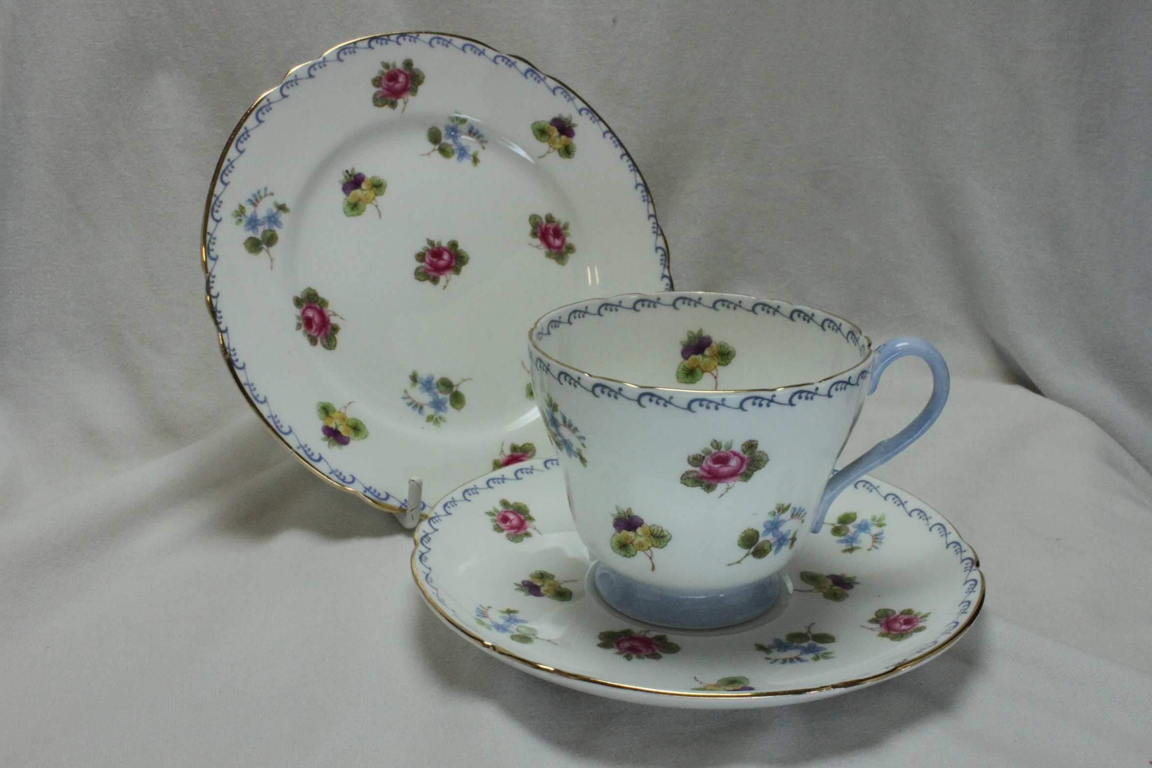 Shelley cup saucer and plate Roses Pansies & Forget-me-nots pattern 13518