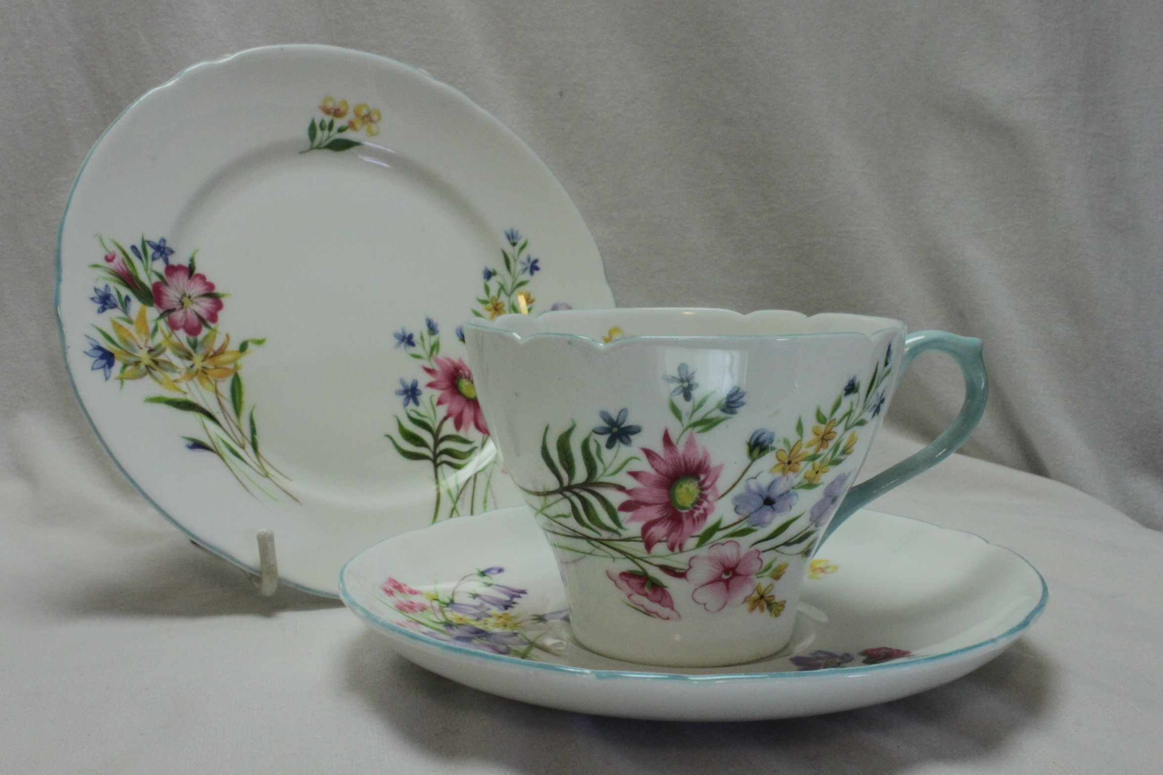Shelley cup saucer & plate Wildflowers pattern 13668