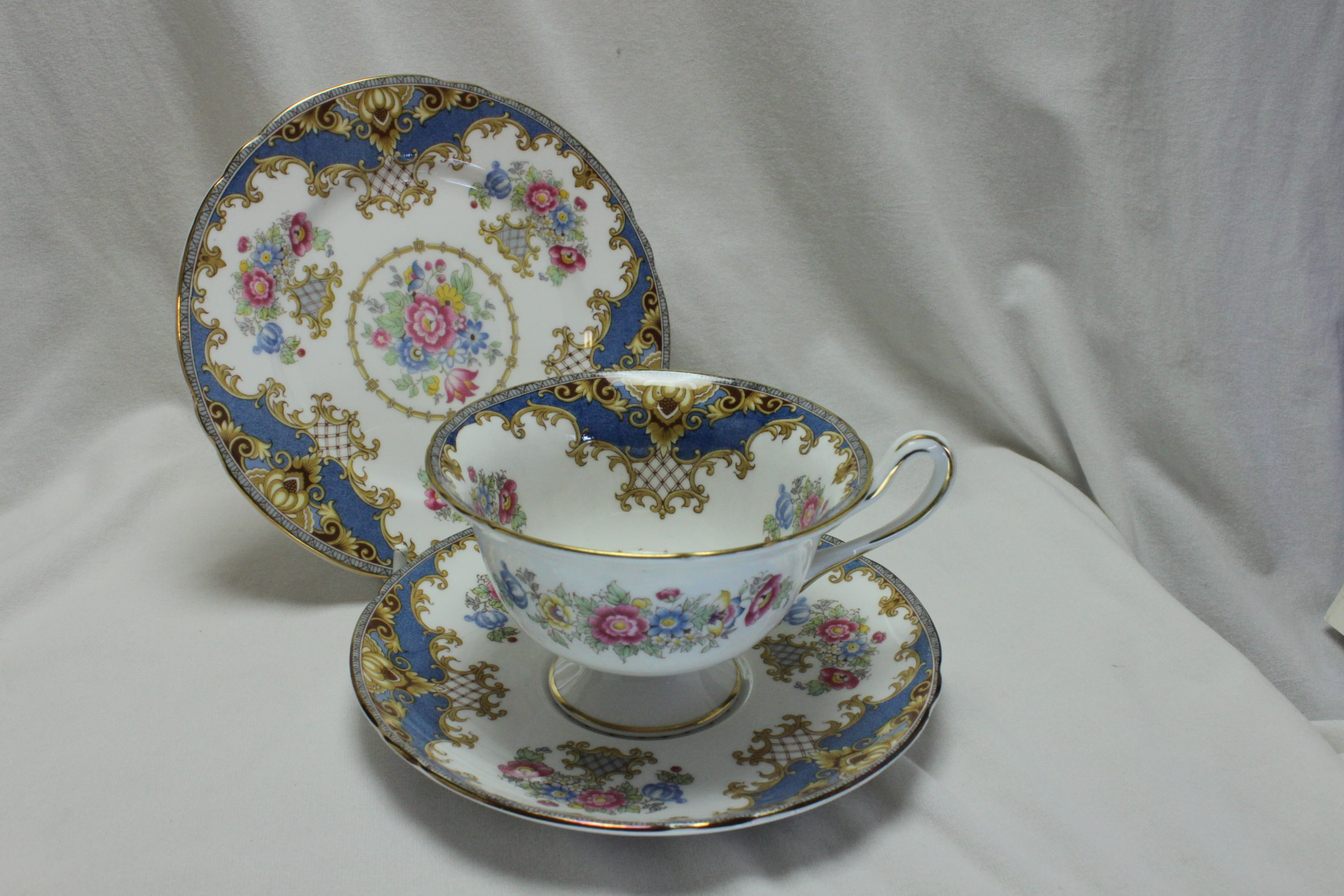 Shelley cup, saucer & plate Blue Sheraton pattern 13291