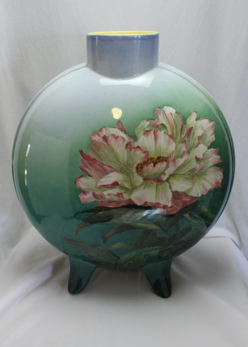 Doulton Lambeth Faience flask vase painted by Katherine Smallfield