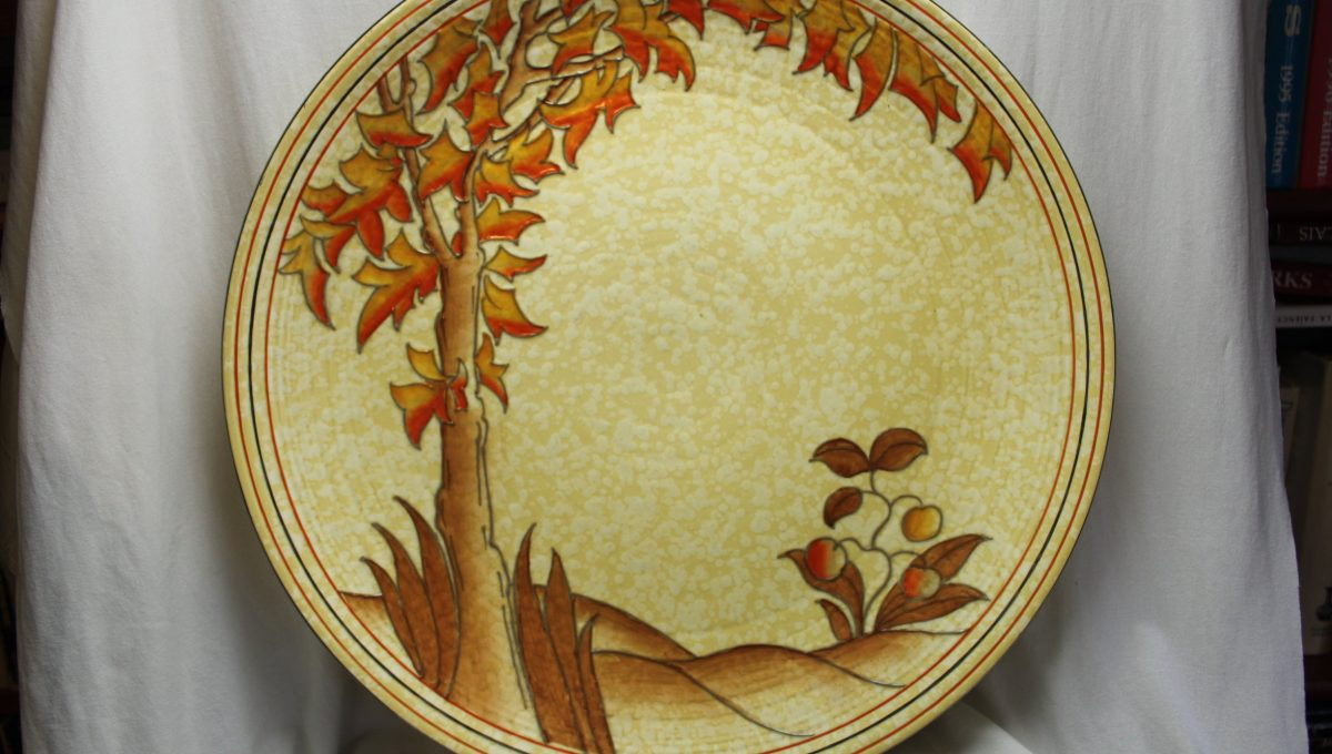 Charlotte Rhead Art Deco wall charger Spanish Tree