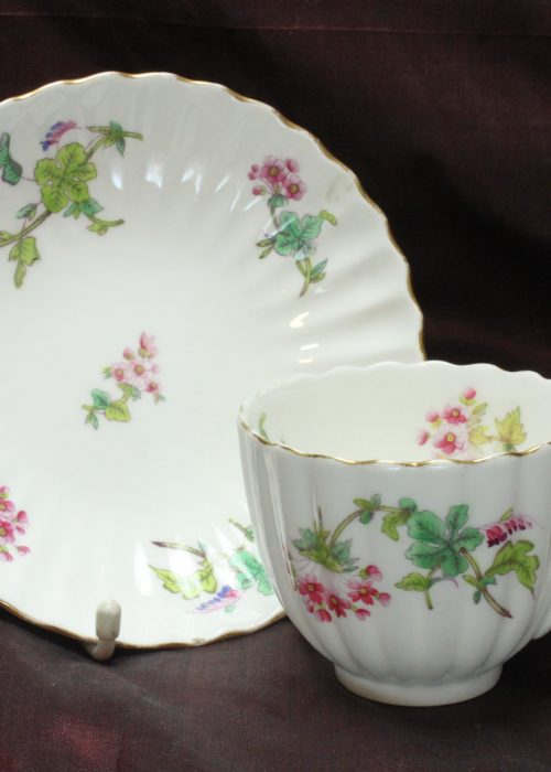 Coalport hand coloured cup and saucer