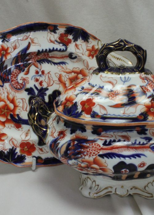 Imari patterned porcelain sauce tureen and stand