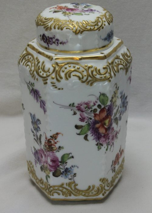 Hand painted and gilded tea canister att. Eugene Clauss