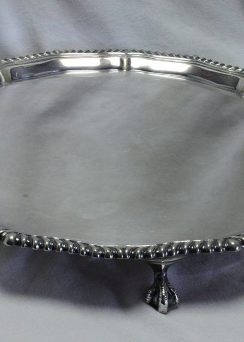 Silver plated card tray by Mappin and Webb