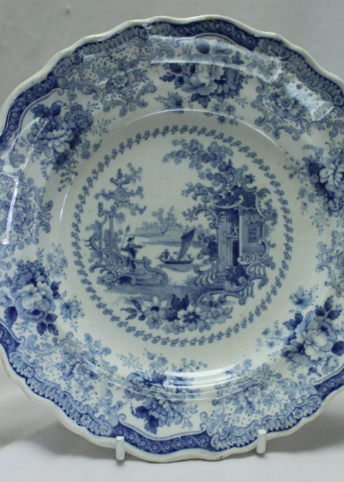 Small Fairy Villas blue and white plate by John Maddock of Burslem