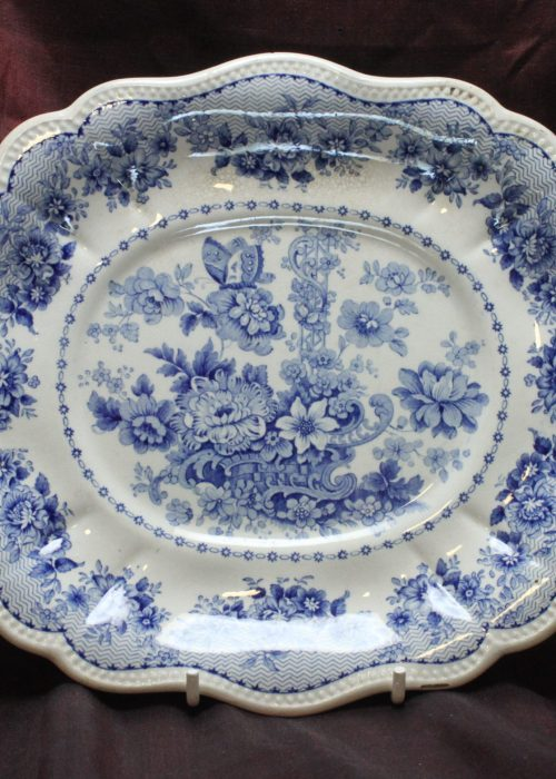 Blue and white printed dish att. to Ralph and James Clews