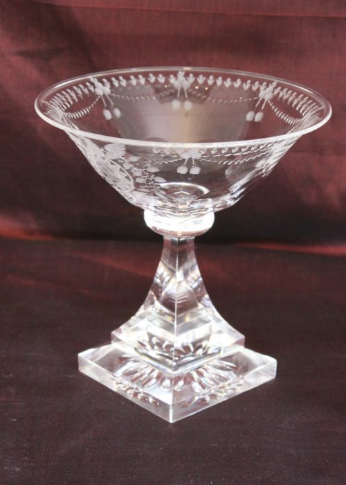 Engraved glass sweetmeats bowl.
